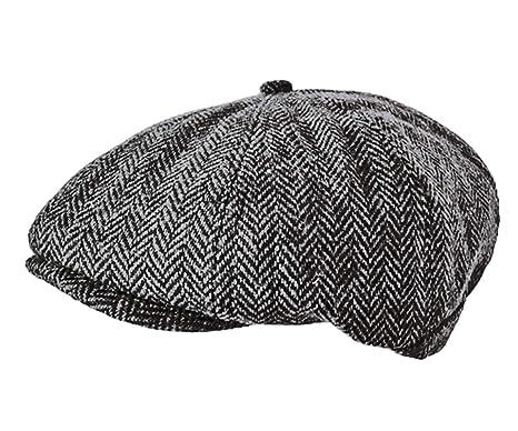 a69ff2d4e5ae TOSKATOK® Unisex Mens, Ladies 8 Panel Herringbone Wool Blend Baker Boy News  Boy Cap