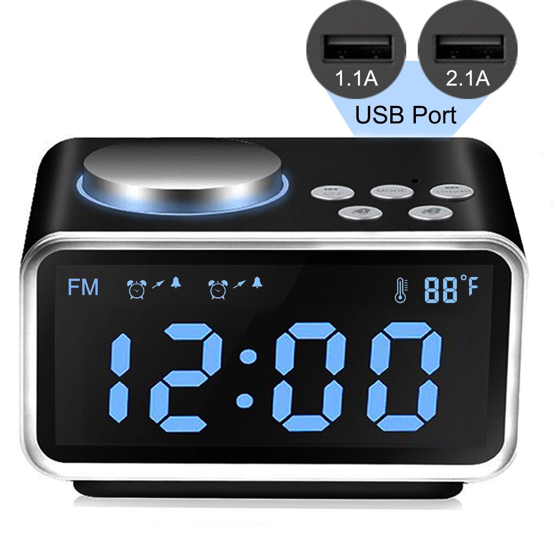Qiwoo Alarm Clock FM Radio with 2 USB Port for Charging 3.2'' Large Digital Display 5 Dimmer Brightness Temperature Snooze Adjustable Alarm Volume Electronic for Heavy Sleeper Travel Office Kid Bedroom