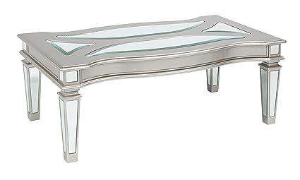 Ashley Glass Coffee Table.Ashley Furniture Signature Design Tessani Contemporary Rectangular Cocktail Table Silver