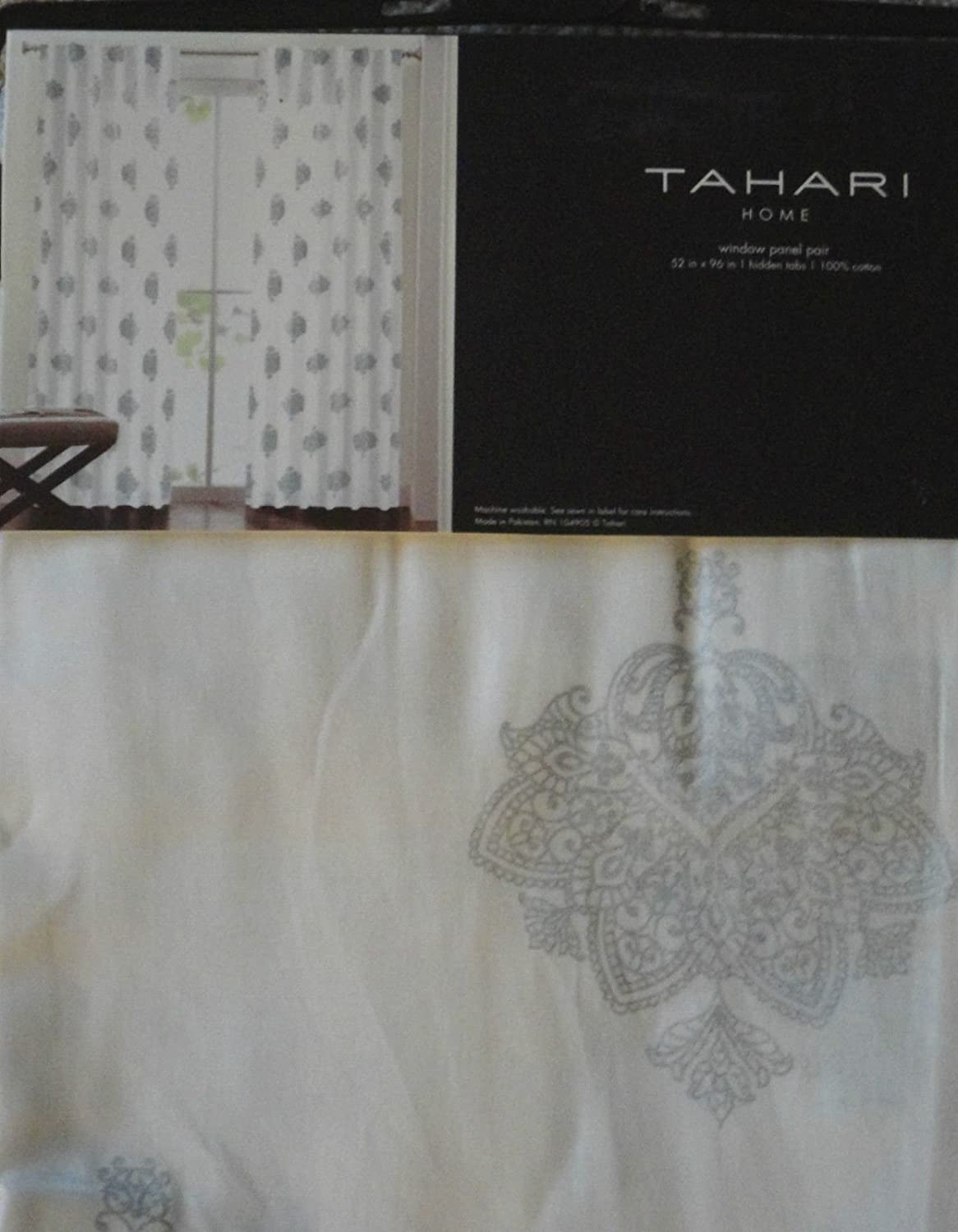 Amazon.com: Tahari White SILVER Istanbul DAMASK Window Panels ...