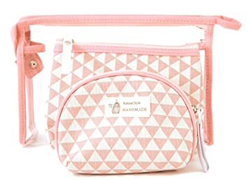 8cac00d0c019 Amazon.com   Zhoma 3 Piece Cosmetic Bag Set - Makeup Bags And Travel Case -  Pink   Beauty
