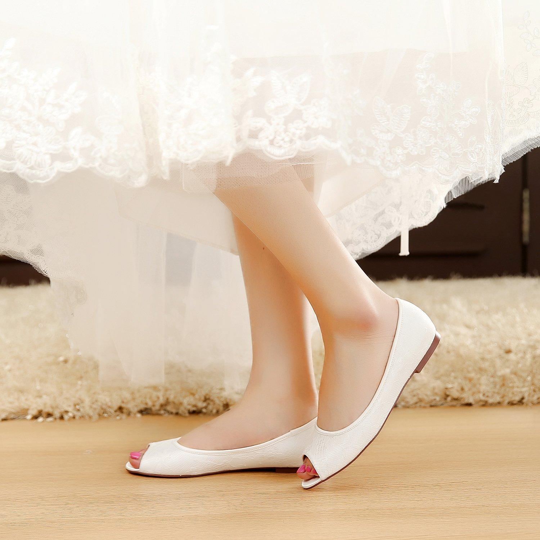 YOOZIRI Schuhe mit flachem Absatz Ivory Wedding Flats,Peep Toe Bridal Bridal Bridal schuhe,RS-9803-Ivory-Peep-Toe-EU36 6d5147