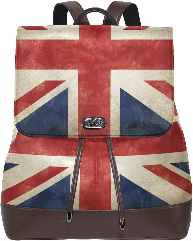 KUWT Vintage Great Britain Flag PU Leather Backpack Photo Custom Shoulder Bag School College Book Bag Casual Daypacks Diaper Bag for Women and Girl