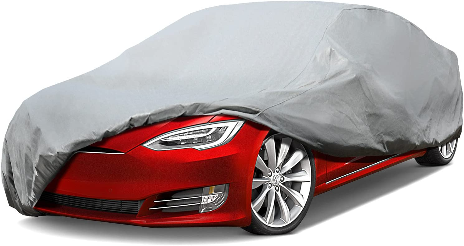 Leader Accessories Platinum Guard Gray 7 Layer Super Soft Car Cover with Cotton Outdoor Protect Against Scratch Cars up to 200