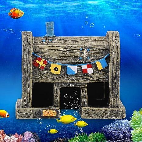 Sixrun Resina de Simulación Casa de Peces Adornos para acuarios Decoración de camarones para Jugar,