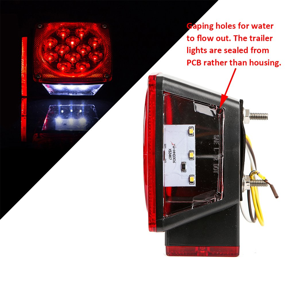 Czc Auto 12v Led Submersible Trailer Tail Light Kit For Motorcycle Wiring Harness Under 80 Inch Boat Rv Marine Automotive