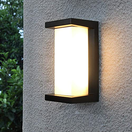 Shinbeam Outdoor Wall Porch Lights,Led Wall Sconces,IP65 Waterproof Lighting Fixture,3-Color-Changeable Wall Fixture,Warm White Cold White and Nature White Color Black