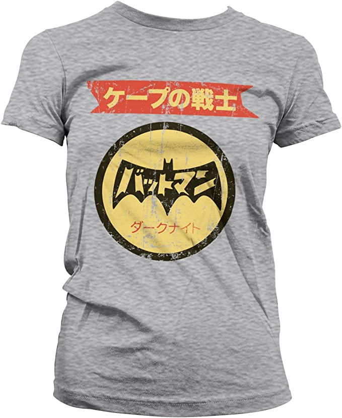 Batman Oficialmente Licenciado Japanese Retro Logo Mujer Camiseta: Amazon.es: Ropa y accesorios