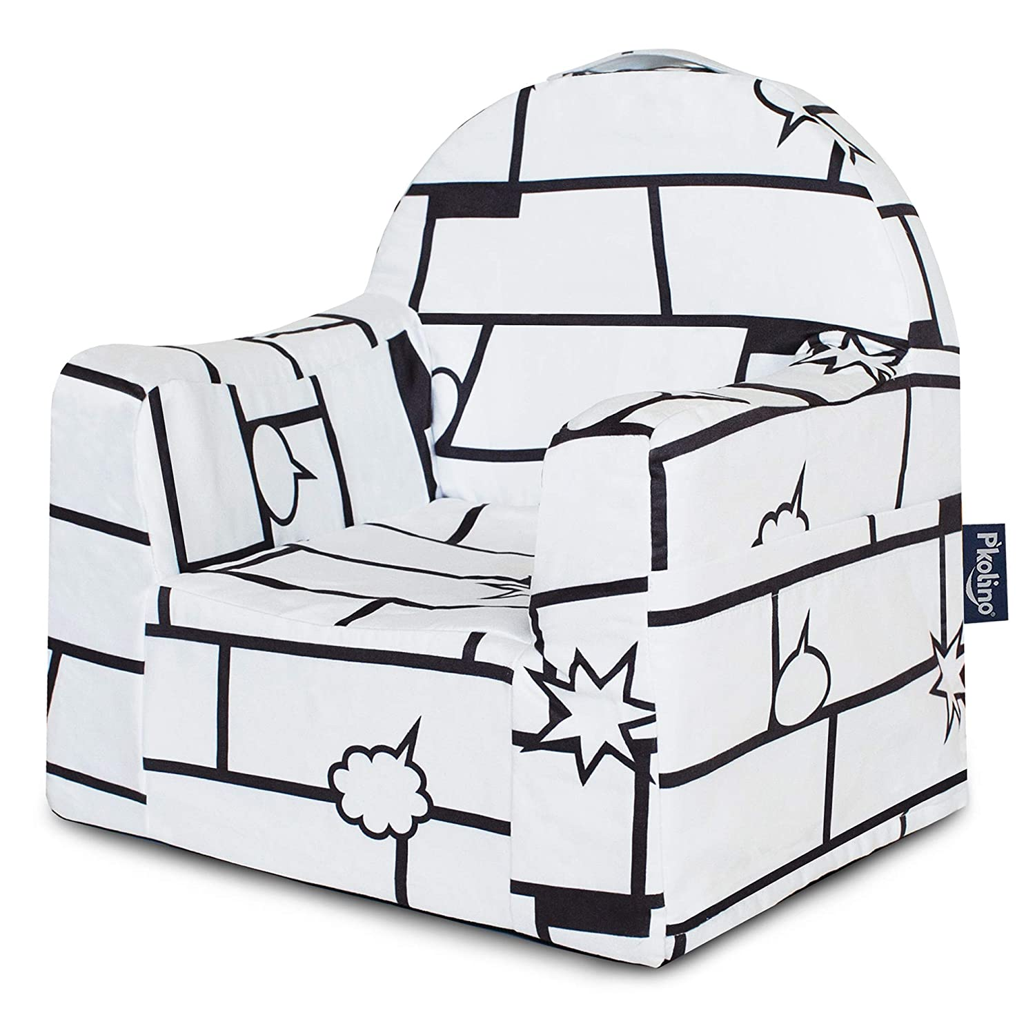 Comic White P'kolino PKFFLRGZ Little Reader Chair - Grey White