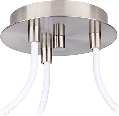 Brushed Nickel Mini Swag Pendant Chandelier Modern Opal Glass 3-Light Fixture for Dining Room House Foyer Kitchen Island Entryway Bedroom Living Room – Possini Euro Design