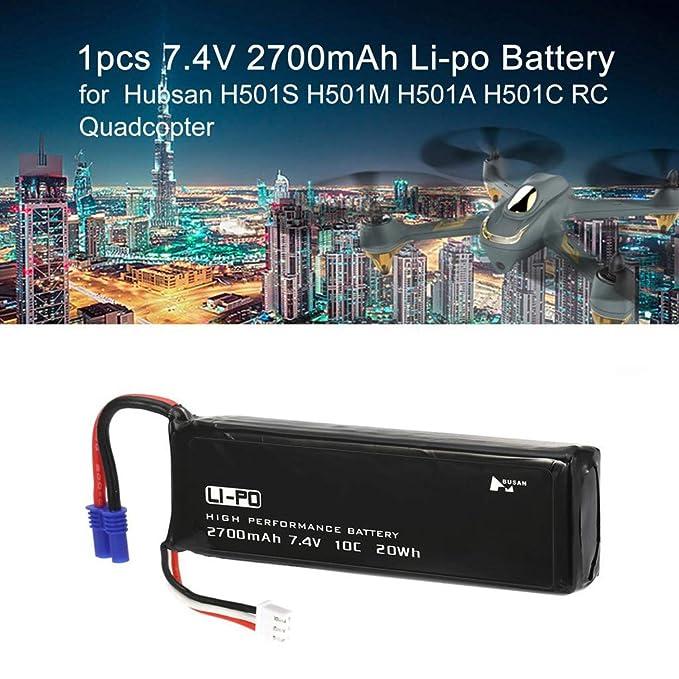 2 baterías de 7,4 V 2700 mAh 10 C con conector EC2 para dron ...