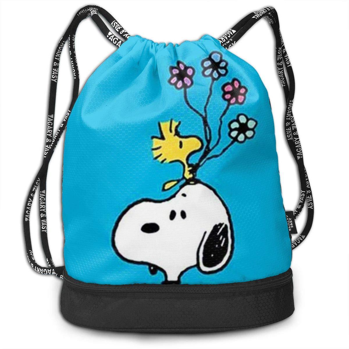 MPJTJGWZ 巾着バッグ スタイリッシュ スヌーピー フラワー 軽量 バックパック スポーツ ジム バンドル バックパック B07SBSQFQF