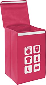 Oxford Cloth Dirty Clothes Hamper, Large Foldable Storage Box Dirty Clothes Storage Basket with Lid (Rose red)