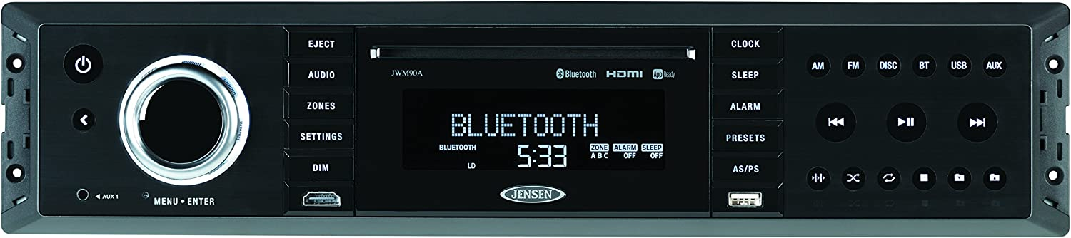 Jensen JWM90A Slimline 3-Zone Source Theater-Style Bluetooth Wallmount Stereo with App Control, DVD/CD-R/RW & MP3 Compatible, Dual HDMI Video Output, HDMI ARC, USB Play MP3/WMA Files, Rear RCA In/Out