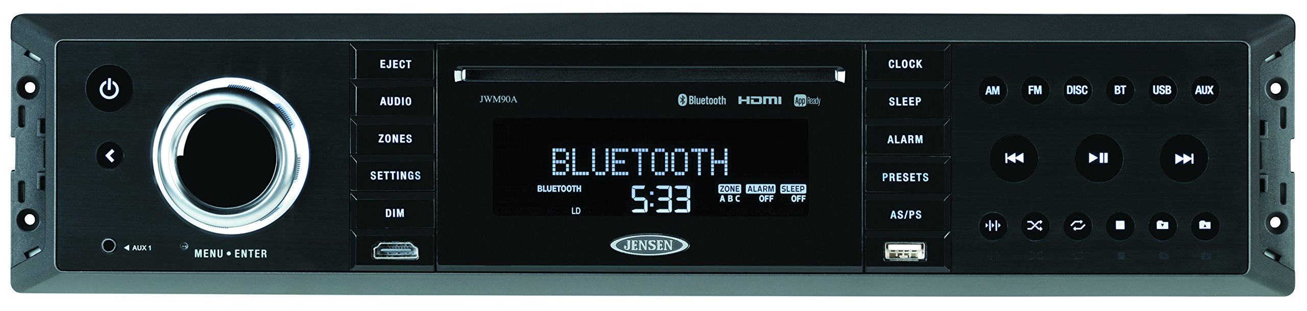 JENSEN JWM90A Slimline 3-Zone Source Theater-Style Bluetooth Wallmount Stereo with App Control, DVD/CD-R/RW & MP3 Compatible, Dual HDMI Video Output, HDMI ARC, USB Play MP3/WMA Files, Rear RCA In/Out by Jensen