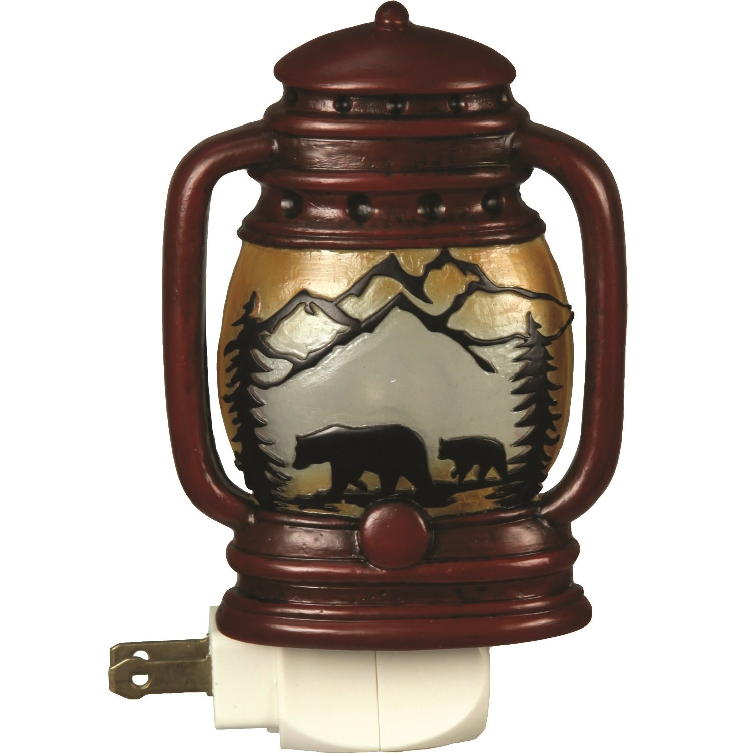 Night Light Lantern Automatic Bears Rustic Decor Wildlife