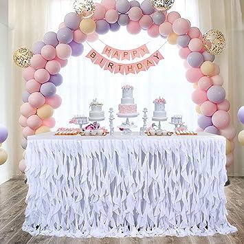 Falda De Mesa,Falda De Mesa Tul Suave Para Fiesta Boda, Cumpleaños Banquetes ,Baby Shower,Decoración Del Hogar(Blanco)