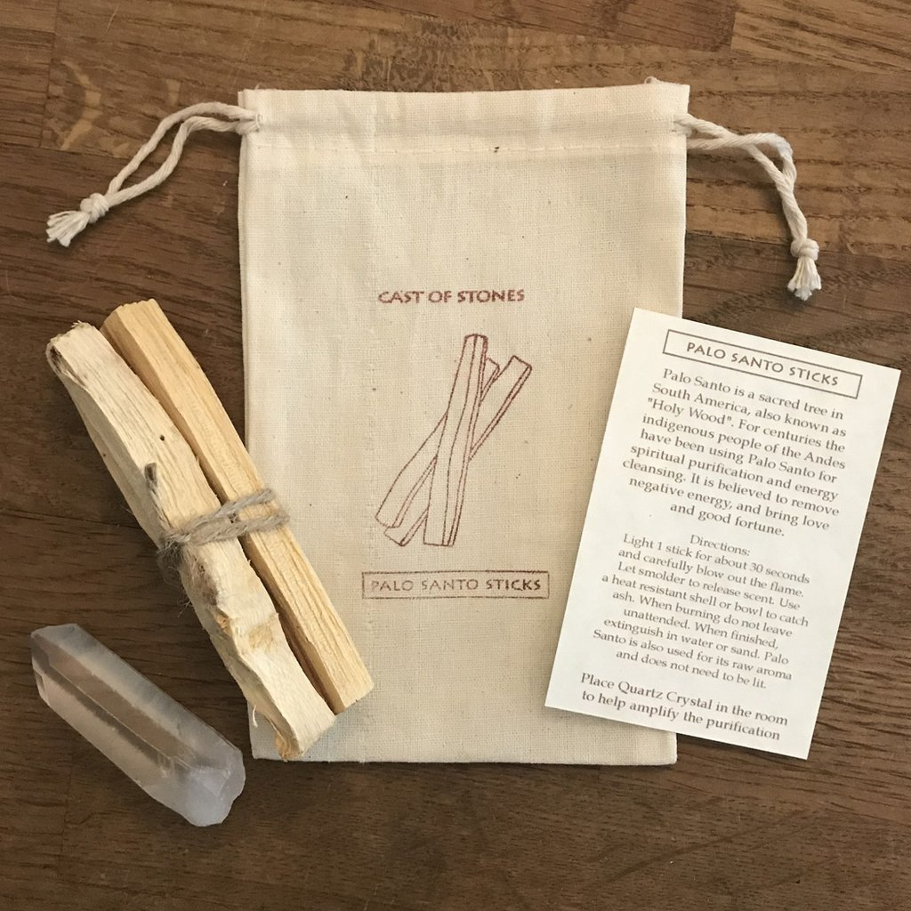 Palo Santo Incense Sticks and Crystal Pouch by Cast of Stones
