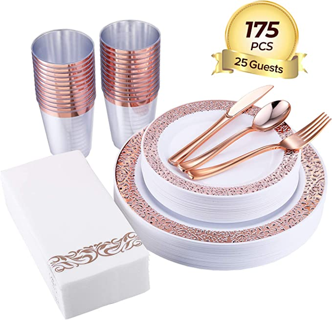 FOCUS LINE 175pcs Rose Gold Plastic Plates, Rose Gold Cups & Paper Hand Napkins, Includes : 25 Forks, 25 Spoons, 25 Knives, 25 Dinner Plates, 25 Dessert Plates, 25 Tumblers, 25 Towels