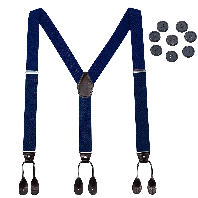 Mens Button End Elastic Suspenders - Adjustable Y shape Formal Suspender (Black B0787Q95YQ6