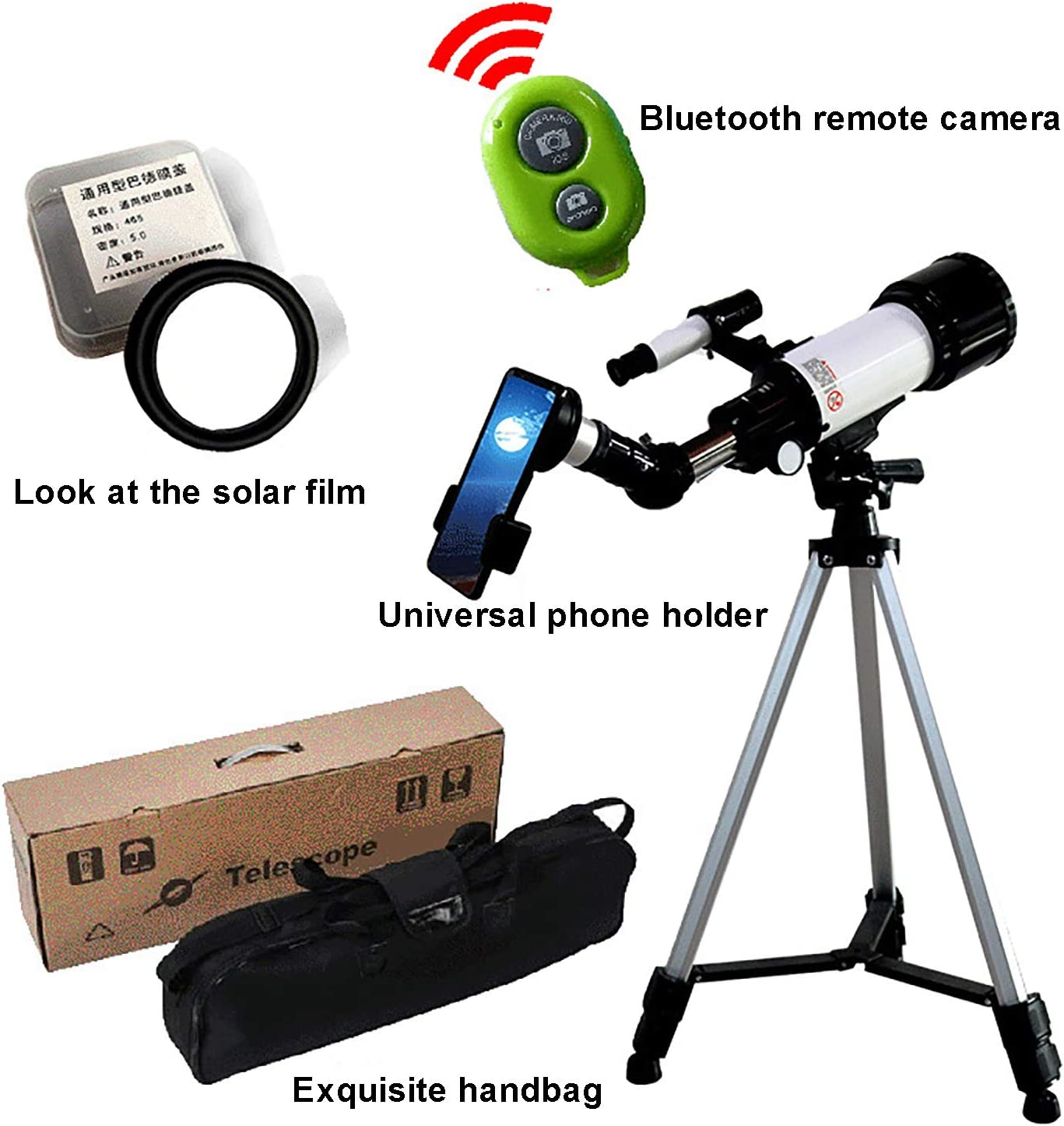Phone Adapter Astronomy Refractor with Tripod SXMY Stargazing Telescope Backpack Telescopes for Adults 70mm Aperture 400mm Telescope for Kids Beginners Fully Multi-Coated Optics