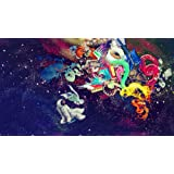 "Psychedelic Trippy Art Fabric Cloth Rolled Wall Poster Print -- Size: (43"" x 24"" / 24"" x 13"")"