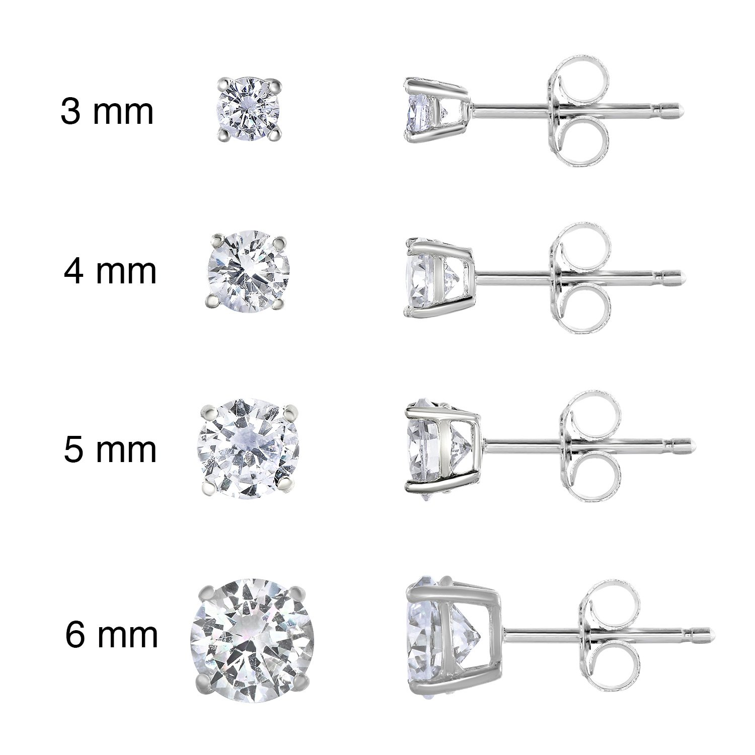 Rhodium Plated Sterling Silver Cubic Zirconia Classic Basket Prong Set Stud Earrings Set, (3-6mm)
