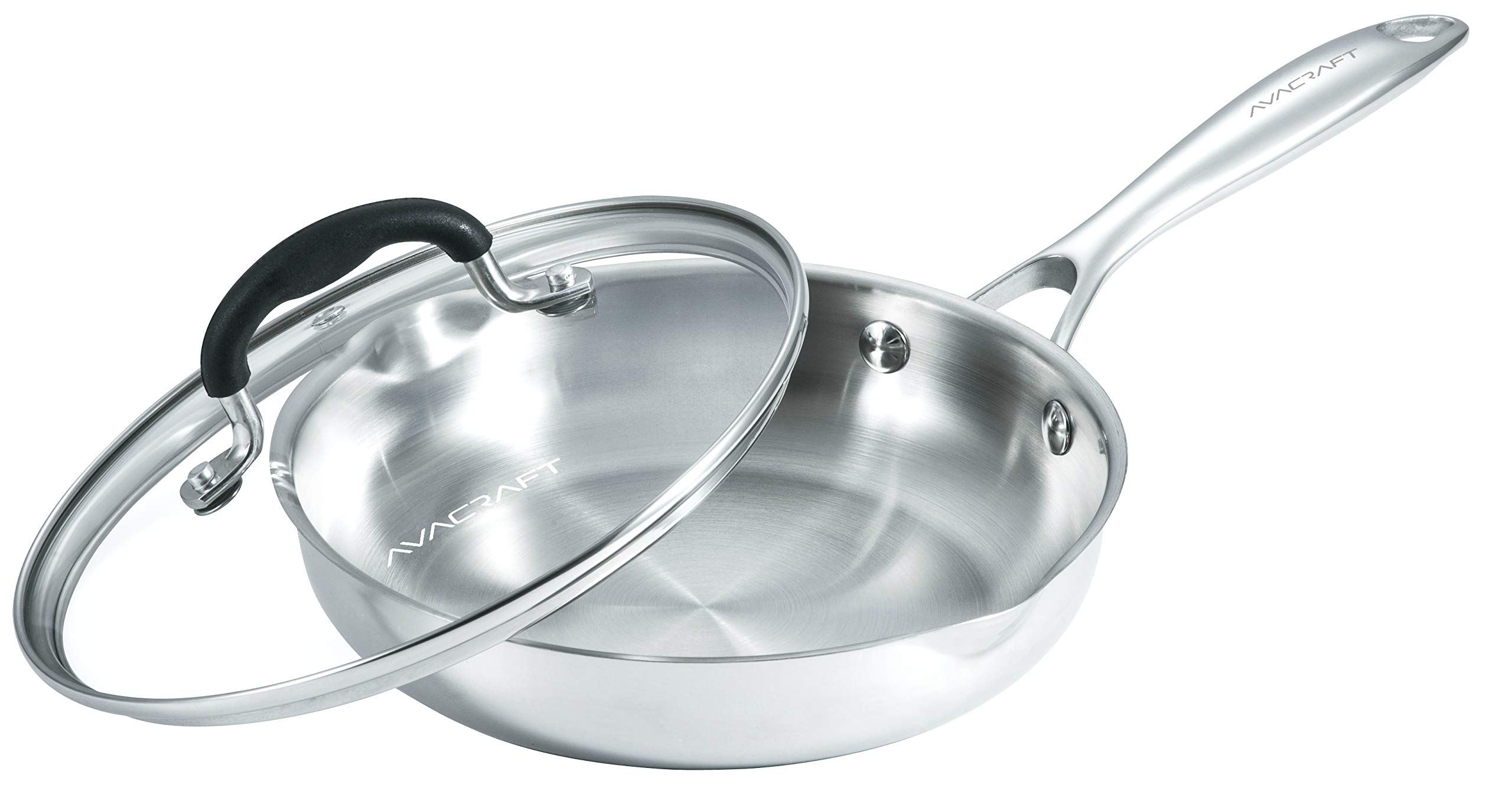 AVACRAFT 18/10 Stainless Steel Frying Pan with Glass Lid, Two Side Spouts for Easy Pour and Ergonomic Handle, Fry Pan (Tri-Ply Capsule Bottom, 8 Inch)