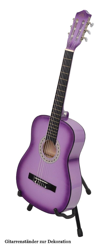 ts-ideen 5267 - Guitarra acústica clásica (incluye funda, correa, cuerdas y púa), color lila con contorno negro: Amazon.es: Instrumentos musicales