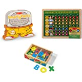 Melissa & Doug Smarty Pants - Preschool Card Set, My Magnetic Responsibility Chart, Magnetic Wooden Alphabet Bundle Toy