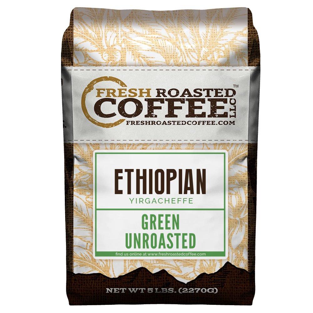 Fresh Roasted Coffee LLC, Green Unroasted Ethiopian Yirgacheffe Kochere Coffee Beans, 5 Pound Bag by Fresh Roasted Coffee