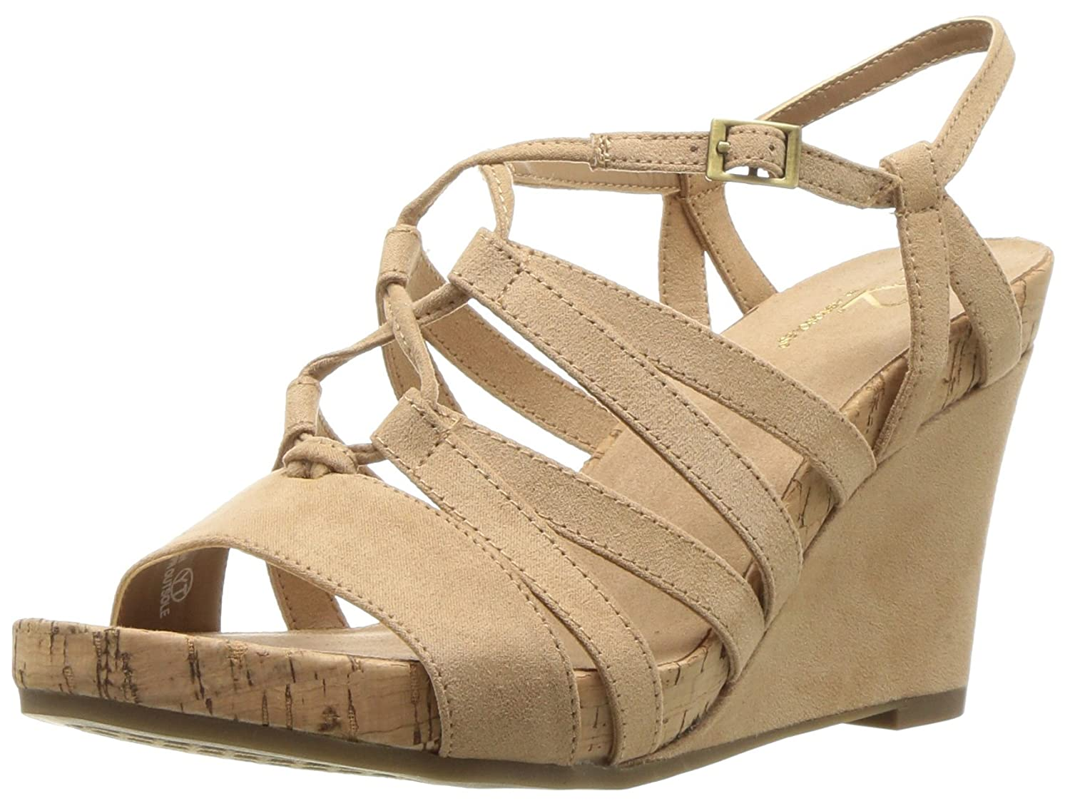Aerosoles Women's Poppy Plush Wedge Sandal B078WDFWBX 5 B(M) US|Light Tan