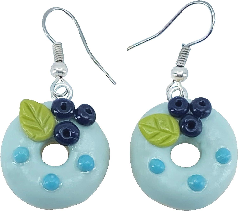 Sunne Tropical Handmade Doughnut Earrings | Food Miniature 3D Colorful Donut Drop Dangle Jewelry | Girls Teen Polymer Thai Clay Giftbox Blue Blueberry