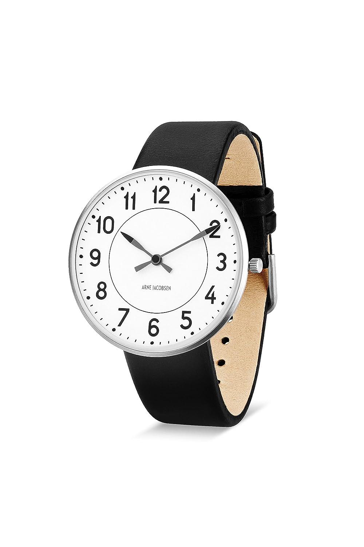 Arne Jacobsen Unisex Quarzuhr mit weißem Zifferblatt Analog-Anzeige und schwarz Lederband 53402
