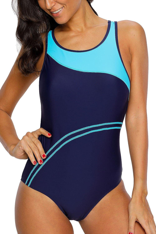beautyin Womens One Piece Athletic Racerback Bathing Suit Color Block Swimsuit