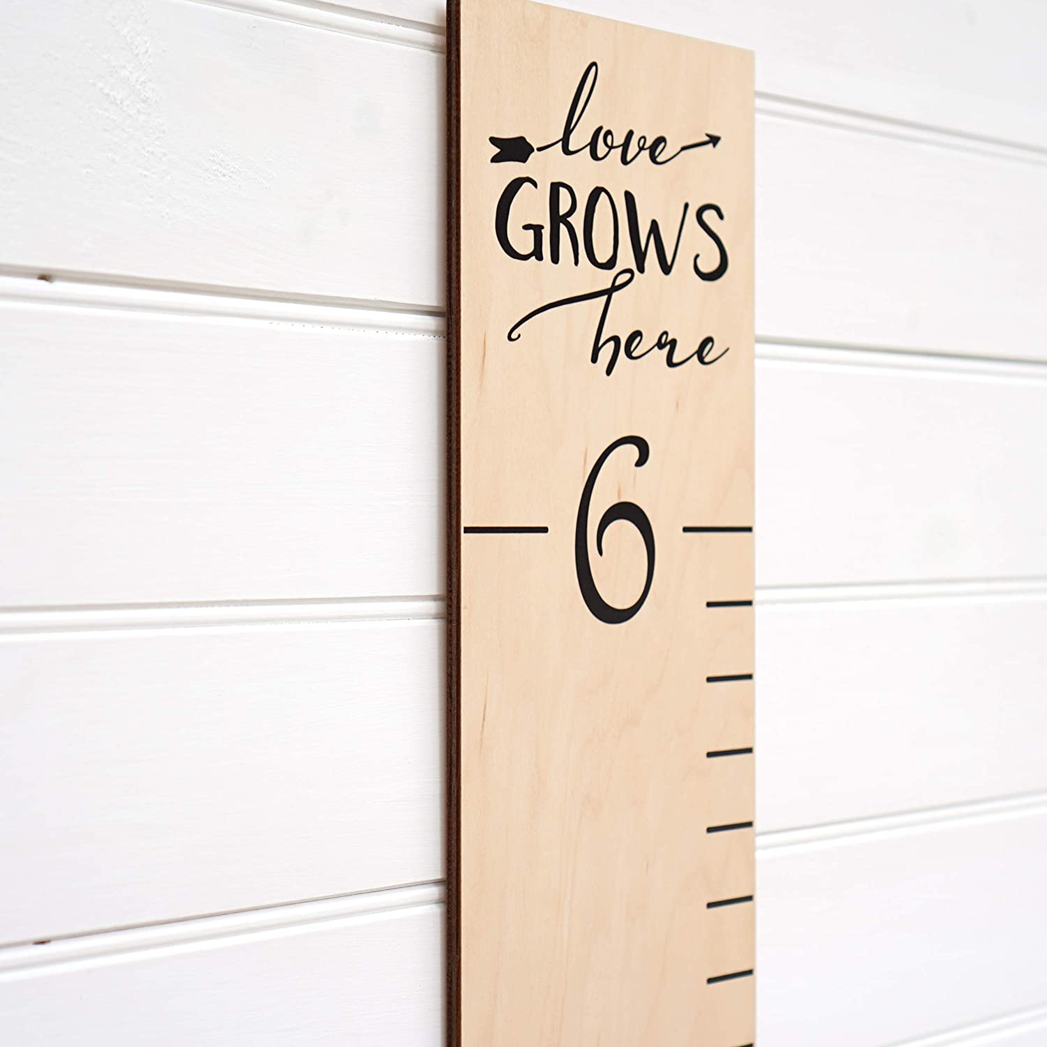 Wooden Growth Chart Ruler for Kids, Boys /& Girls | Wood Height Chart | Love Grows Hereon Natural