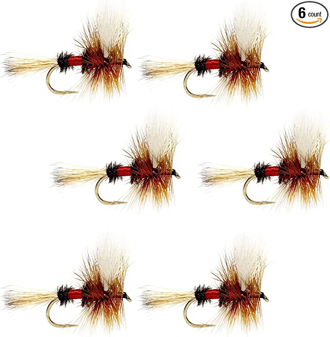 The Fly Fishing Place Royal Trude Classic Trout Dry Fly Fishing Flies Set of 6 Flies Size 14