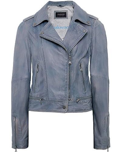 Oakwood Mujeres chaqueta de motorista de cuero de Sidonie Azul Claro
