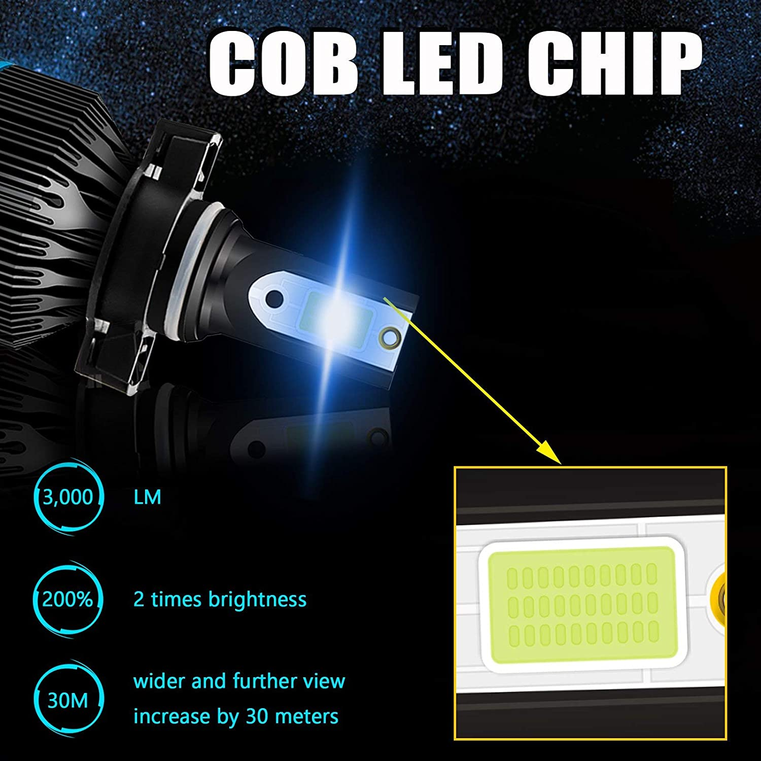Xotic Tech H13 9008 Ice Blue 8000K LED Headlight Bulb All-in-one Conversion High Low Beam Kit 6000LM Super Bright Fog Light Replacement
