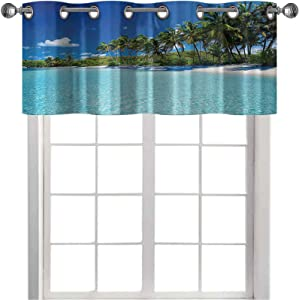 Thermal Insulated Window Curtain Valance Relax Beach Resort Spa and Palm Trees Picture 42