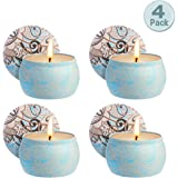 Zeonetak Scented Candles Gift Set, Soy Wax Stress Relief Aromatherapy 4 Pack 4.8 oz Each 80 Hours Burn Time Cotton Wick Soot-Free Burns Clean Mosquito Repellent Candles Nature+Freedom(Lemongrass)