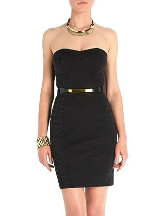 468969dcb1f Morgan - Robe - Bustier - Uni - Sans manche - Femme - Noir - FR   42 ...