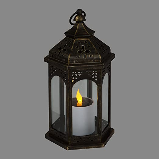 Farolillo solar negro con vela, h 32,5 cm, forma exagonal, LED luz amarilla, luces de jardín, de exterior: Luminalpark: Amazon.es: Hogar
