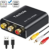 RCA a HDMI, Techole Aluminio 3 RCA Compuestas AV a HDMI Converter de Video y Audio con 3 Cables RCA y Cable USB, Soporte 1080P para Nintendo, Xbox, PS4, PS3, PC, TV,
