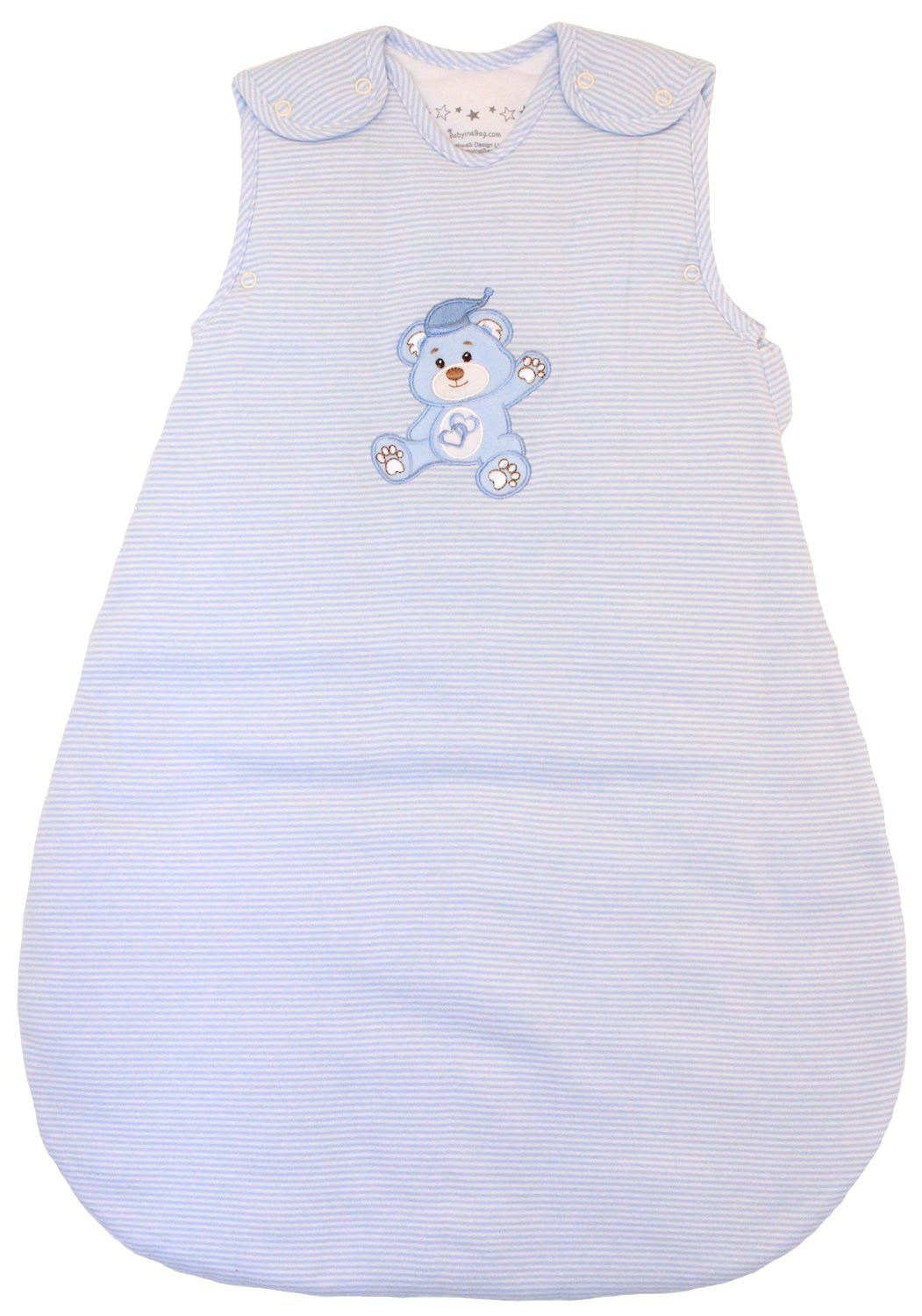 Baby Sleeping Bag - Wearable Blanket, 100% Cotton, Blue Stripes, Winter Model, 2.5 Tog (Small (3-11 mos))