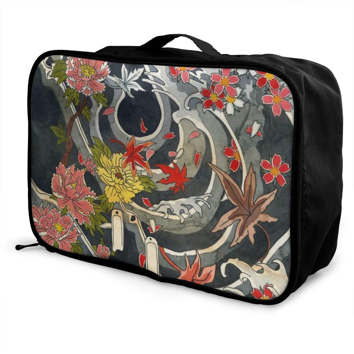 Japanese Floral Flowers Tattoo Chrysanthemum Travel Lightweight Waterproof Folding Storage Portable Luggage Duffle Tote Bag Large Capacity In Trolley Handle Bags 6x11x15 Inch
