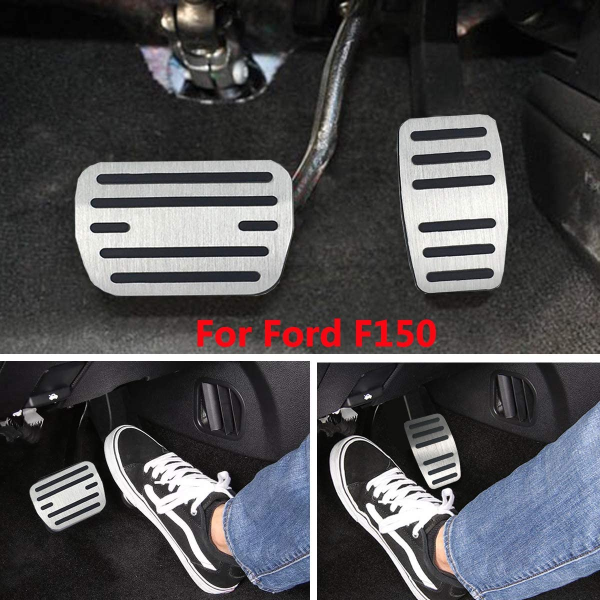 TTCR-II/Pedal Covers for Ford F150 Automatic Transmission, 3PCs No Drill/Anti-Slip Aluminum-Alloy/Gas Pedal Covers Brake and Parking Pedal Pads for 2015-2018 Ford F150