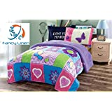 Fancy Collection 2pc Twin Size Teens/girls Blanket Sumptuously Soft Plush Butterfly Purple Blue Green with Sherpa Winter Blankets Bedspread Super Soft New008