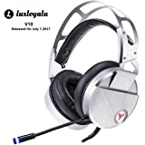 USB Gaming Headphone for Gamer Over Ear, Surround Stereo Sound Game Headset, Metal Steel Headband Strip Gaming Headset, Noise Isolating, Wired Headset With LED Mic for Windows PC Laptops MAC Computer