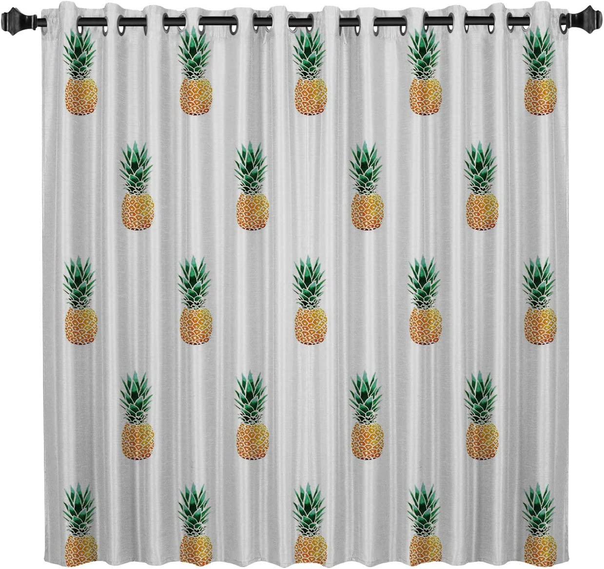 BedSweet Blackout Room Darkening Curtains, 52 by 96 Inch Tropical Fruit Decor,Yellow Pineapple Window Panel Drapes for Kitchen Bedroom
